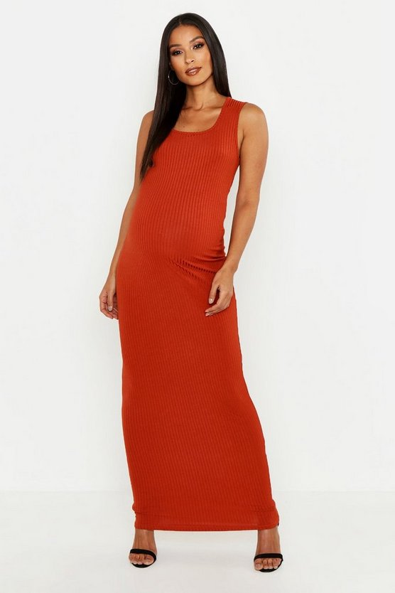 Maternity Scoop Rib Maxi Dress