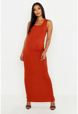 Womens Rust Maternity Scoop Rib Maxi Dress