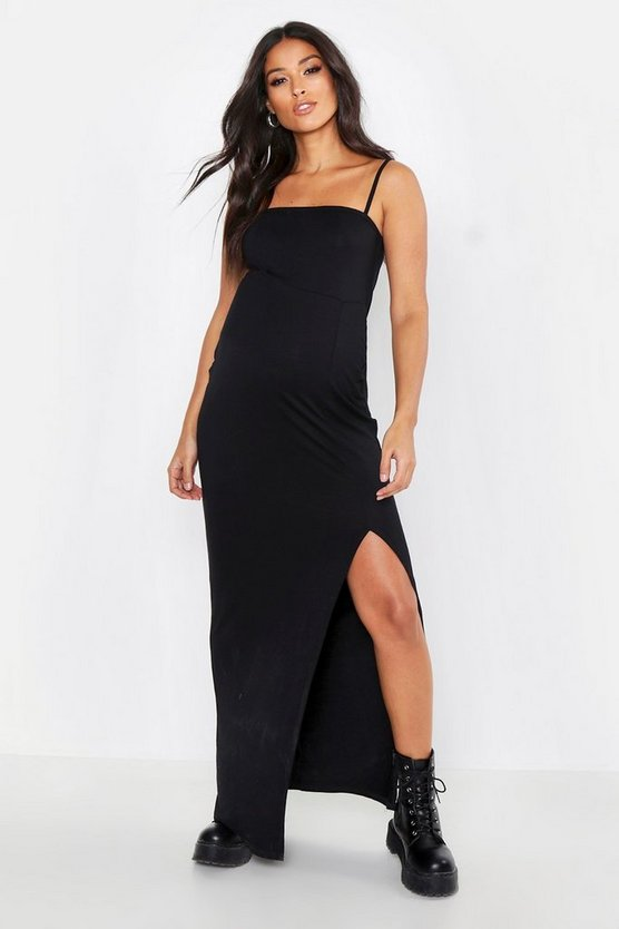 Black Maternity Square Neck Slit Front Maxi Dress