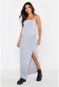 Womens Light grey Maternity Square Neck Slit Front Maxi Dress