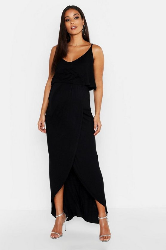 Womens Black Maternity Strappy Wrap Front Maxi Dress