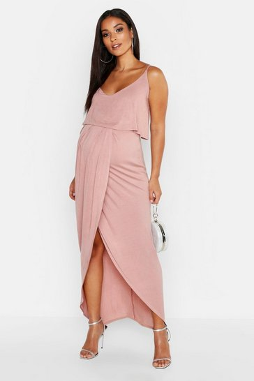 Womens Dusky pink Maternity Strappy Wrap Front Maxi Dress