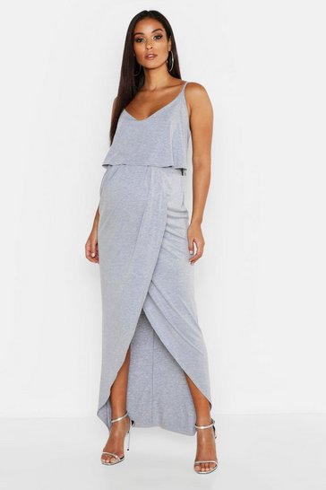 Womens Grey Maternity Strappy Wrap Front Maxi Dress