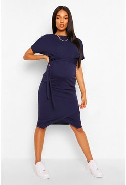Womens Navy Maternity Tie Waist Batwing Midi Dress