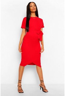 Red Maternity Tie Waist Batwing Midi Dress