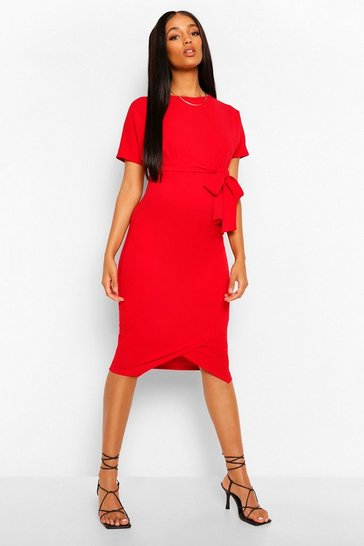 Womens Red Maternity Tie Waist Batwing Midi Dress