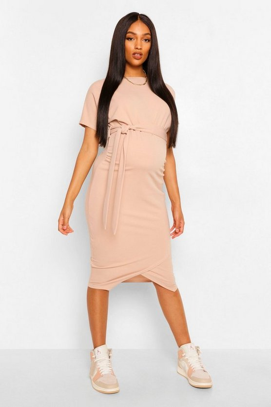 Maternity Tie Waist Batwing Midi Dress