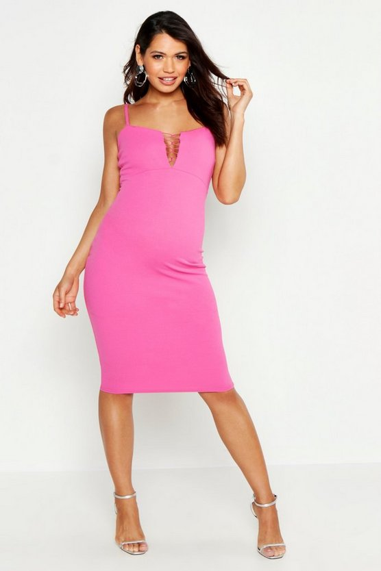 Womens Hot pink Maternity Lace Up Midi Dress