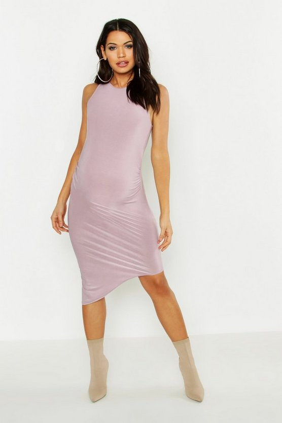 Womens Mauve Maternity Slinky Racer Neck Midi Dress