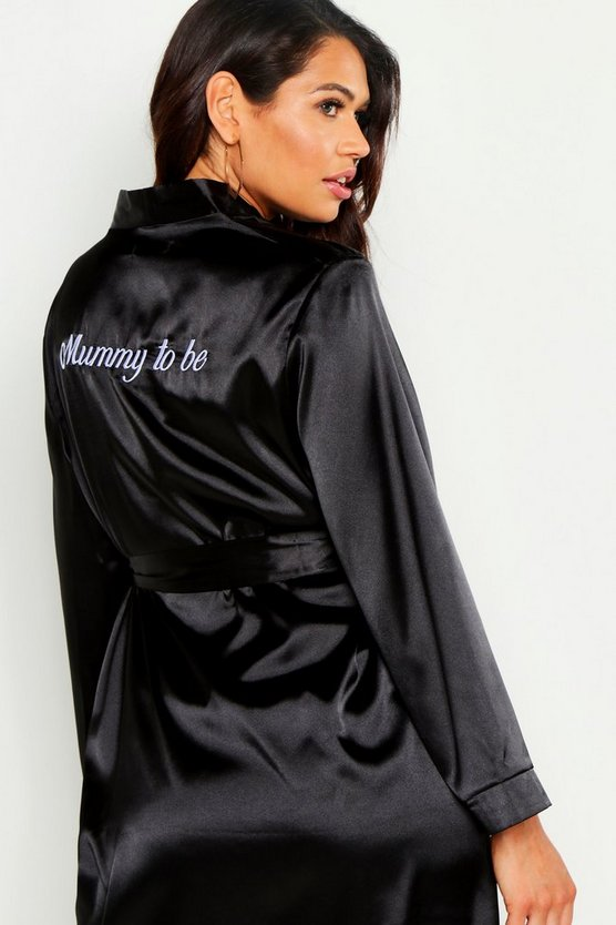 Black Maternity 'Mummy To Be' Embroided Dressing Gown