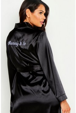 Womens Black Maternity 'Mummy To Be' Embroided Dressing Gown