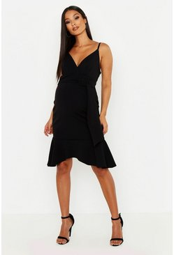Womens Black Maternity Belted Frill Hem Midi Dress