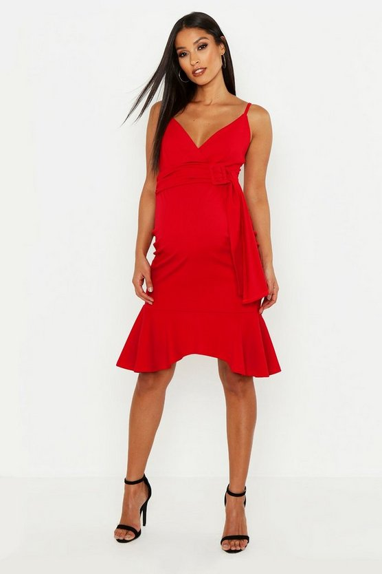 Maternity Belted Frill Hem Midi Dress