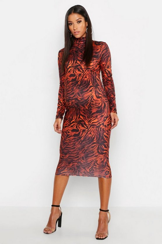 Rust Maternity High Neck Tiger Midi Dress