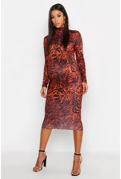 Womens Rust Maternity High Neck Tiger Midi Dress