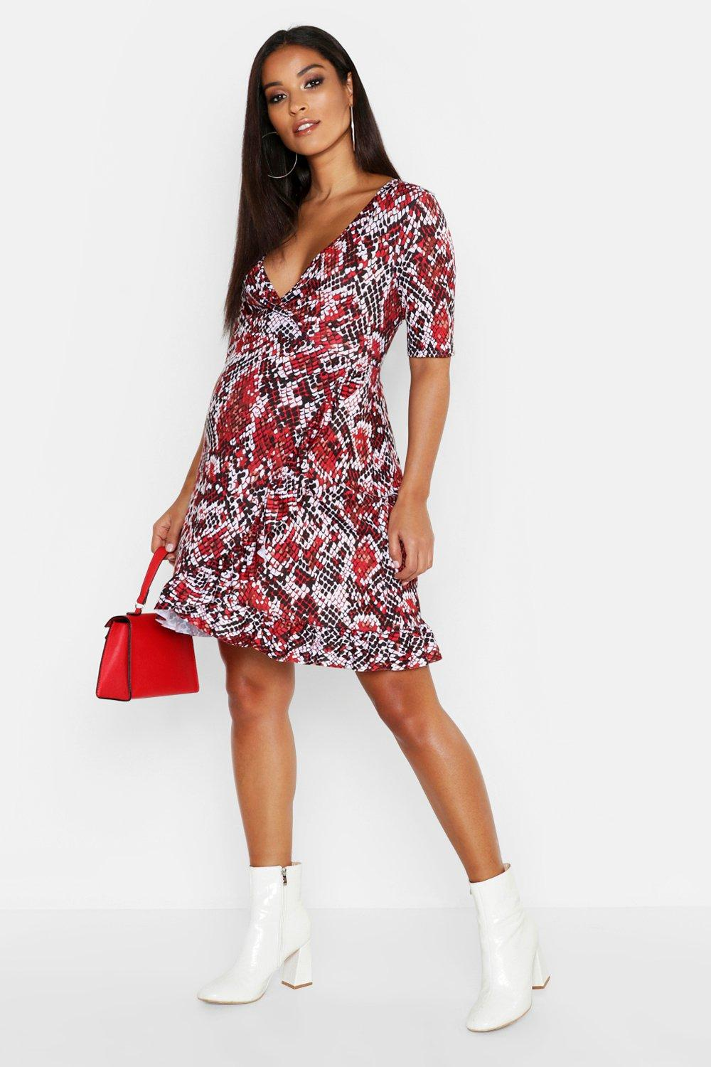 Maternity Snake Print Wrap Frill Dress