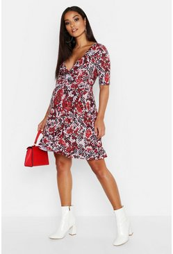 Womens Red Maternity Snake Print Wrap Frill Dress