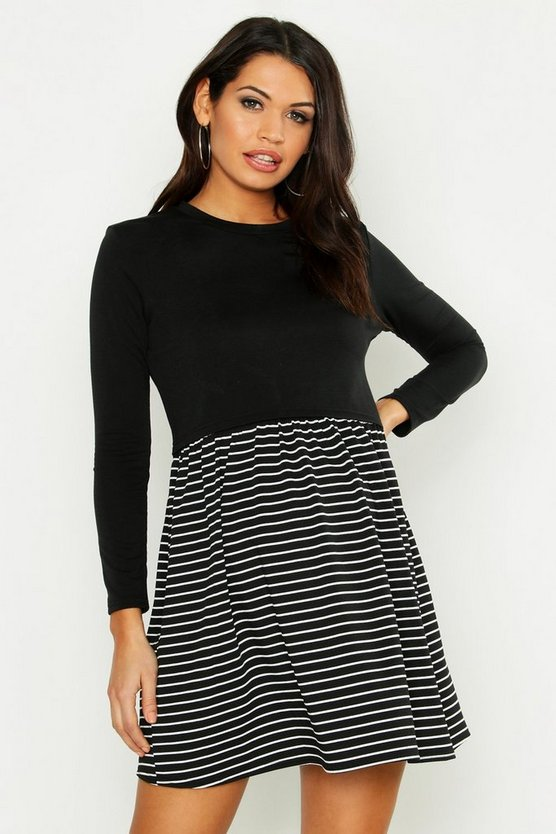 Black Maternity Stripe Sweat Smock Dress