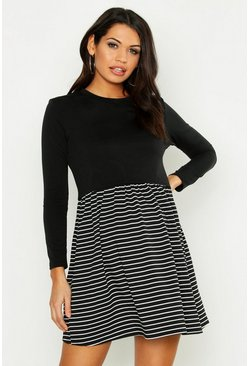 Womens Black Maternity Stripe Sweat Smock Dress