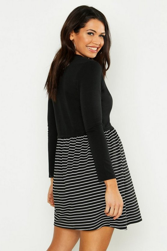 Maternity Stripe Sweat Smock Dress