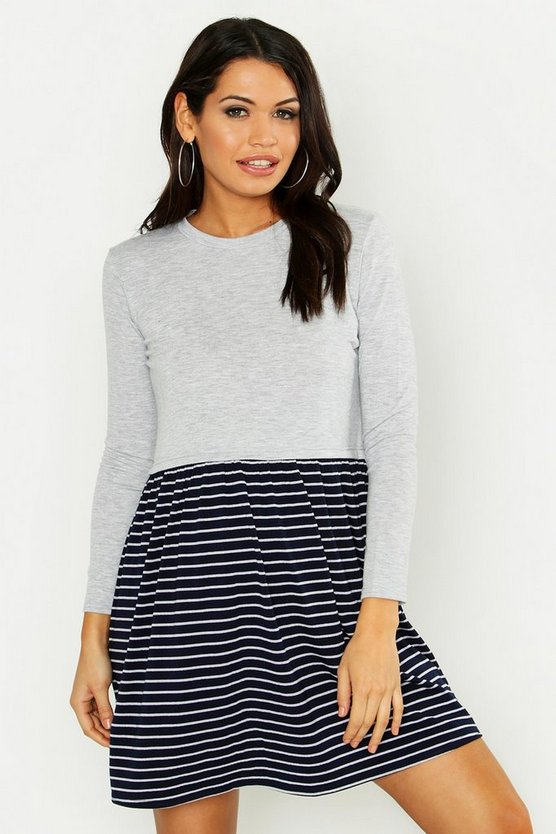 Maternity Stripe Sweat Smock Dress