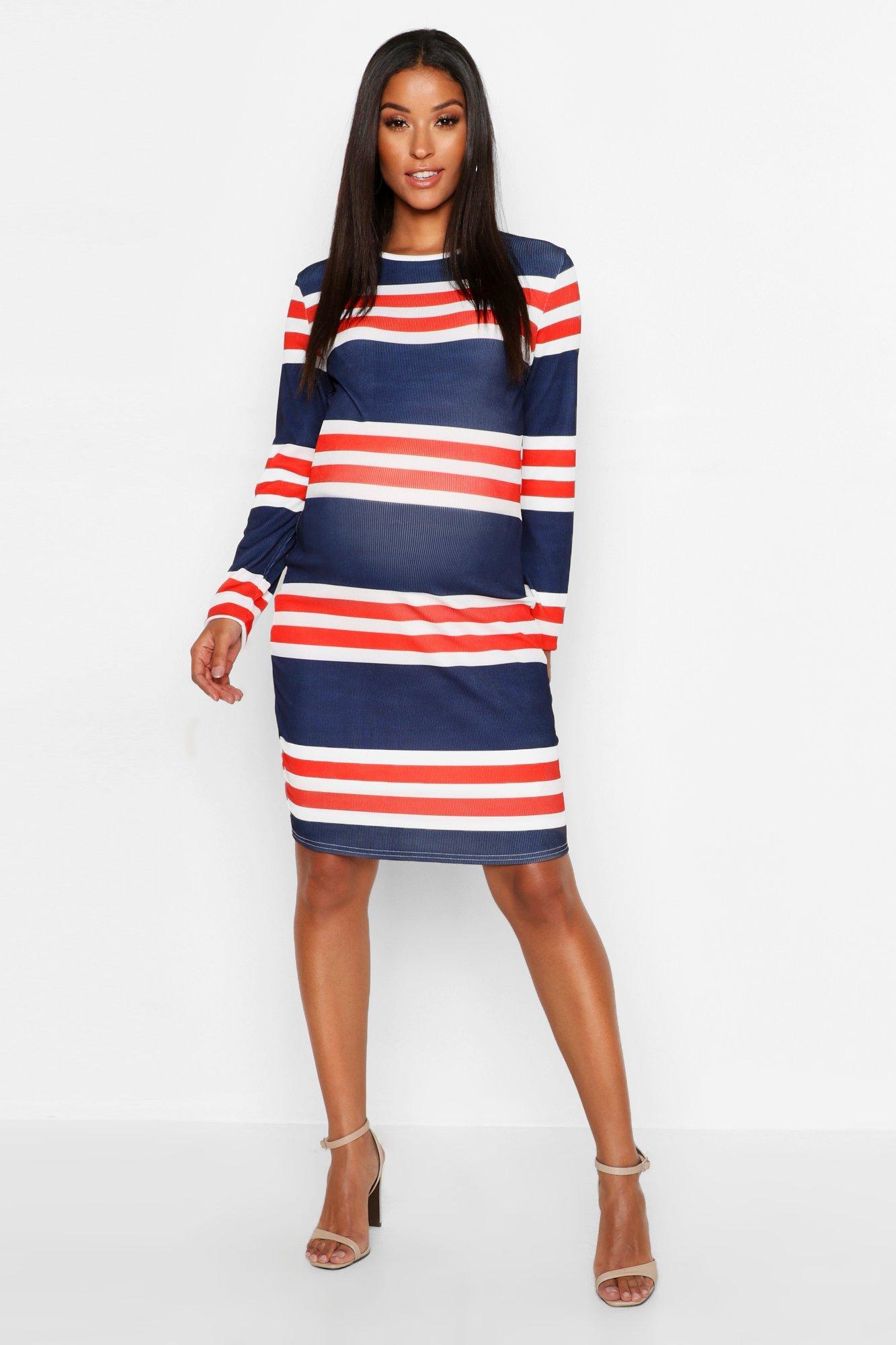 Maternity Stripe Rib Bodycon Dress