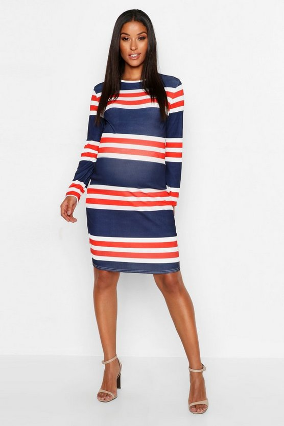 Maternity Stripe Rib Bodycon Dress