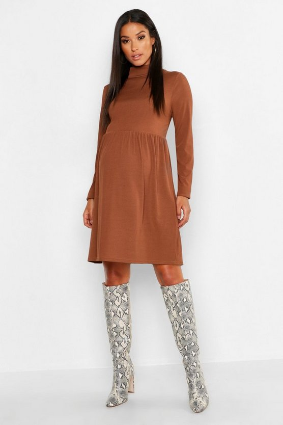 Maternity High Neck Rib Smock Dress