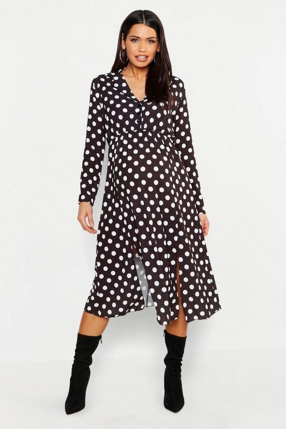 Maternity Polka Dot Split Front Midi Shirt Dress