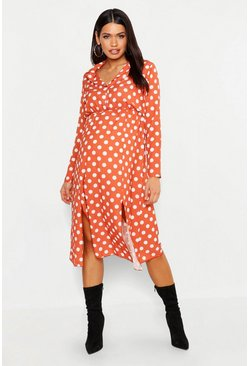 Womens Rust Maternity Polka Dot Split Front Midi Shirt Dress