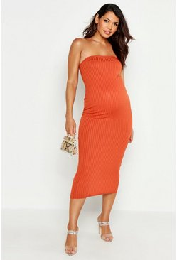 Womens Rust Maternity Bandeau Midaxi