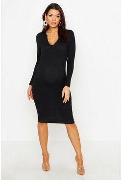 Womens Black Maternity Long Sleeved Notch Midi Dress