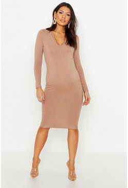 Mocha Maternity Long Sleeved Notch Midi Dress