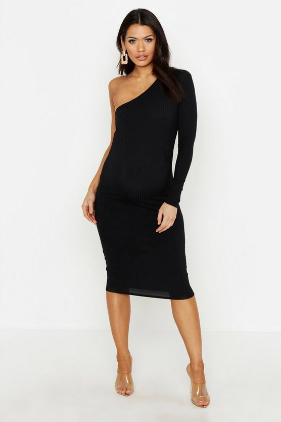 Womens Black Maternity Jumbo Rib One Shoulder Midi