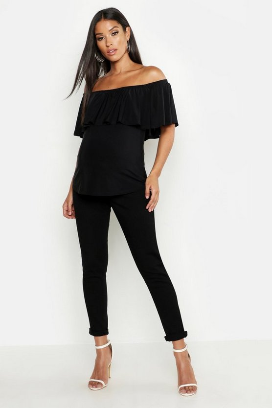 Womens Black Maternity Bardot Slinky Frill Top