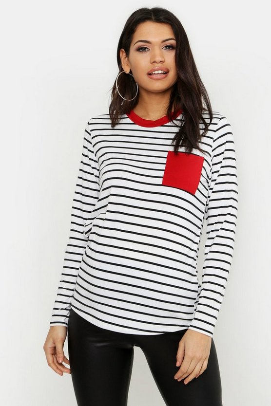 Maternity Long Sleeve Pocket Detail T-Shirt