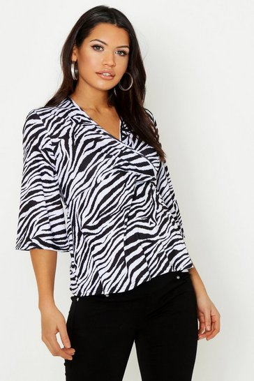 Womens Black Maternity Zebra Print Wrap Top
