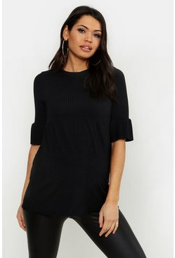Womens Black Maternity Rib Smock Top