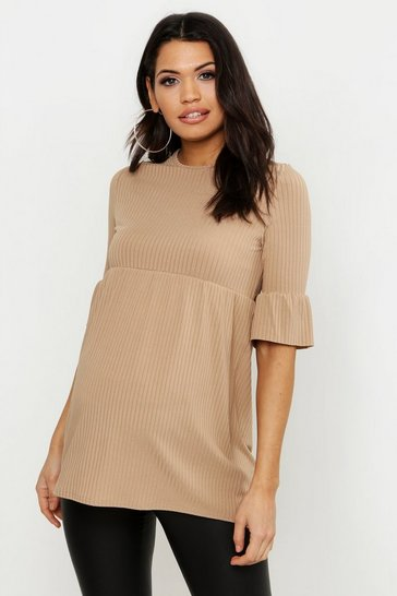Womens Camel Maternity Rib Smock Top
