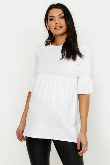 Womens Ivory Maternity Rib Smock Top