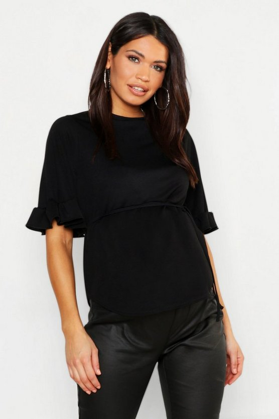 Womens Black Maternity Frill Sleeve Tie Waist Top