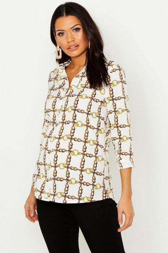 Womens Ivory Maternity Chain Print Shirt