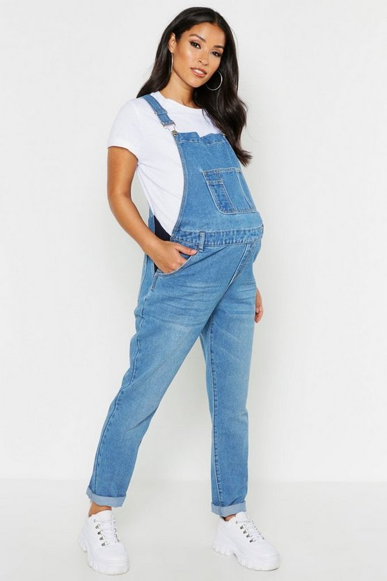 Mid blue Maternity Denim Dungaree
