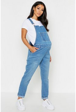 Womens Mid blue Maternity Denim Dungaree