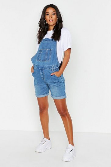 Womens Blue Maternity Dungaree Shorts