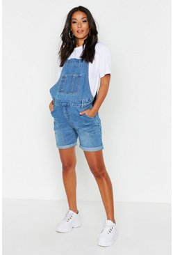 Womens Blue Maternity Overall Shorts