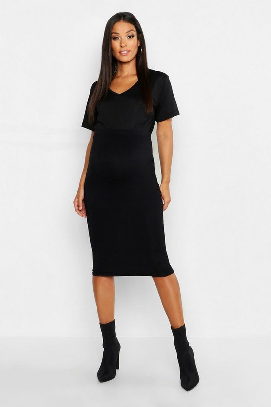 Womens Black Maternity Over The Bump Midi Skirt