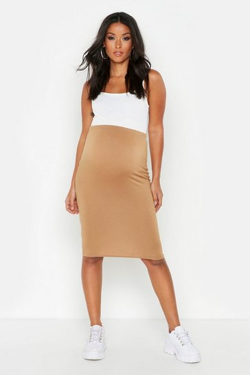 Womens Camel Maternity Over The Bump Midi Skirt