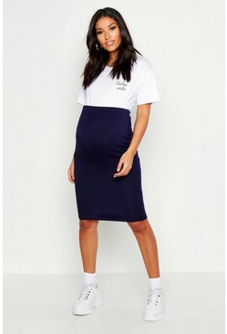 Womens Navy Maternity Over The Bump Midi Skirt