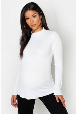 Womens Ecru Maternity Frill Roll Neck Tee